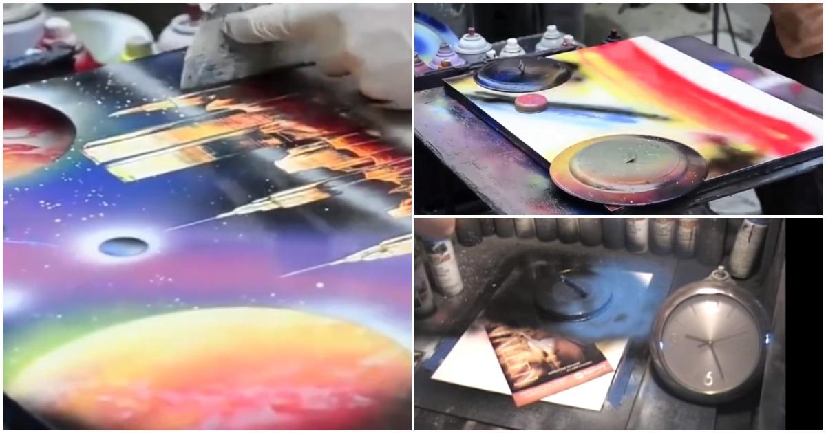 С крышкой от кастрюли и шпателем в руках: потрясающие картины, созданные за считанные минуты
