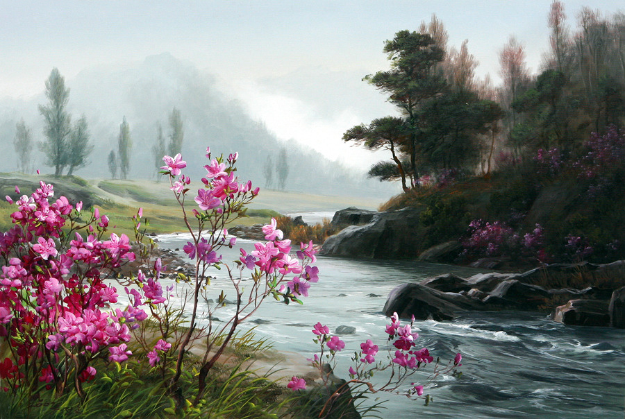Корейский художник Kang Jung Ho (강정호). Пейзажи.