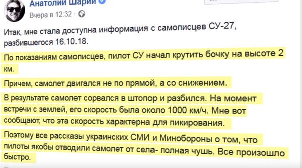 Анатолий Шарий узнал, что причиной падения Су-27 на учениях с американцами, стал украинский полковник