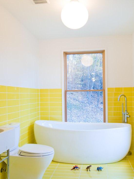 Желтый цвет в декоре ванной
