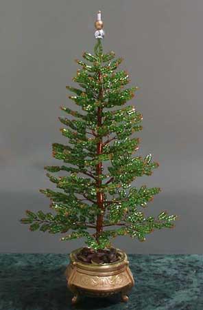 дерево из бисера зелёная ёлочка своими руками