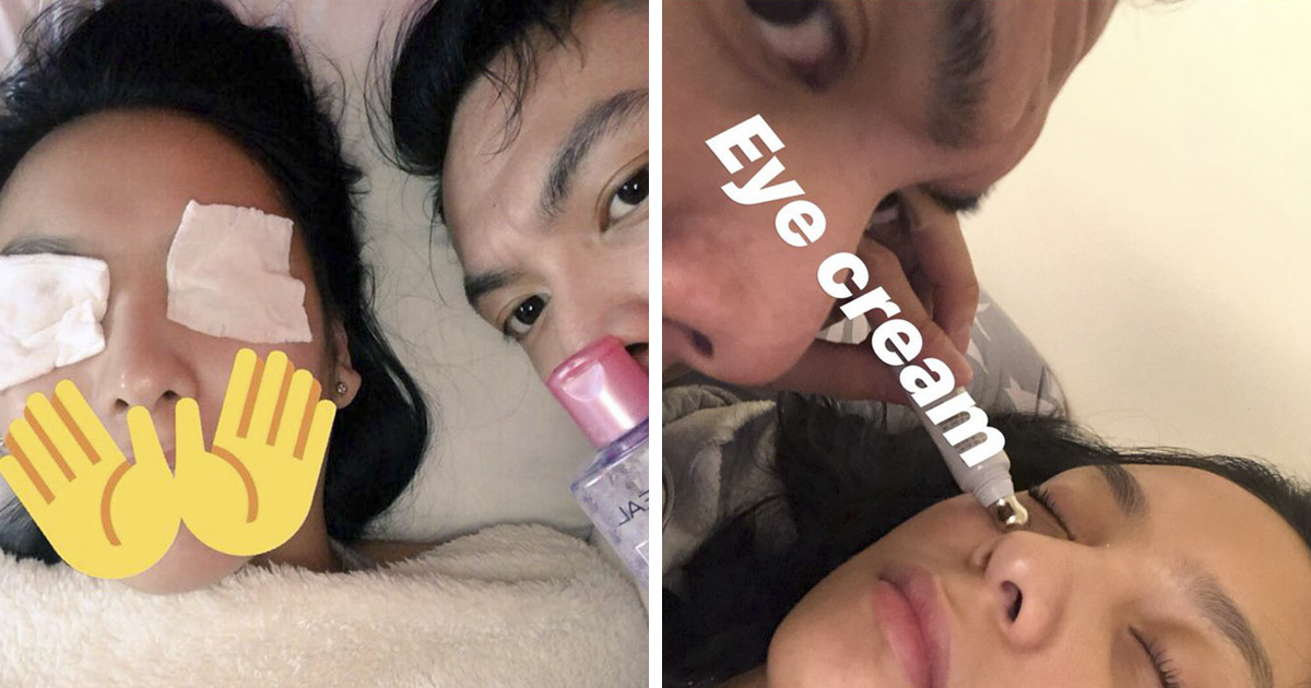 Girl Finds Unexpected Pictures On Her Phone After Passing Out, Turns Out Her BF Did Her Skin Care Routine