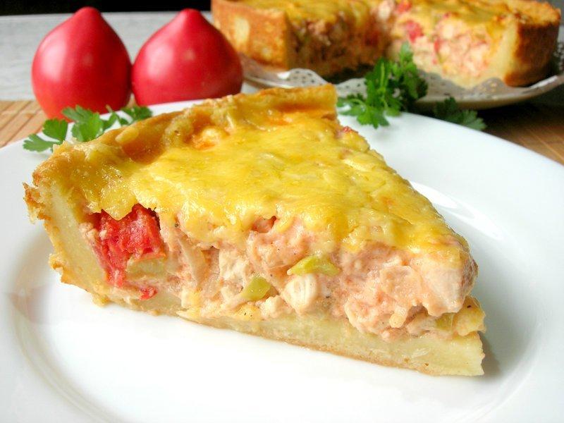 Картофельный пирог – нежное тесто и много сочной начинки!