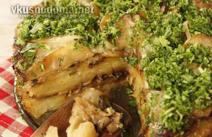 Запеканка из картофеля, шампиньонов и белых грибов