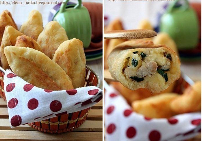 Пирожки из творожного теста с курицей и сыром — Рецепт на вес золота