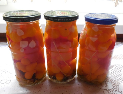 Маринованные помидоры «медовая капля» с красным салатным перцем и пряными травами