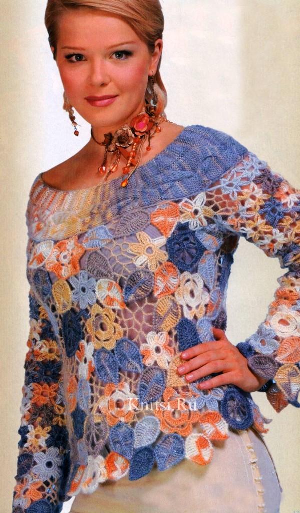 Пуловер из мохера - ирландское кружево крючком и спицами