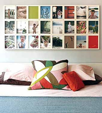 фотоколлаж из семейных фотографий на стене