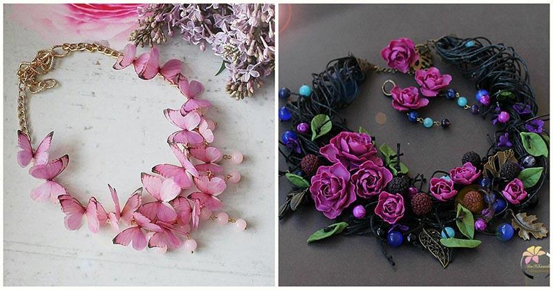 Нежнейшие украшения с бабочками и цветами из полимерной глины