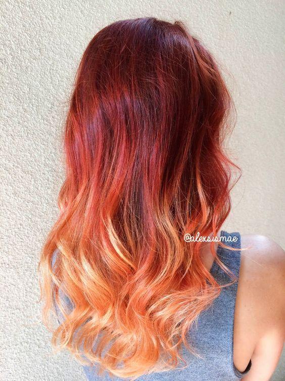 Балаяж на темные волосы с красным