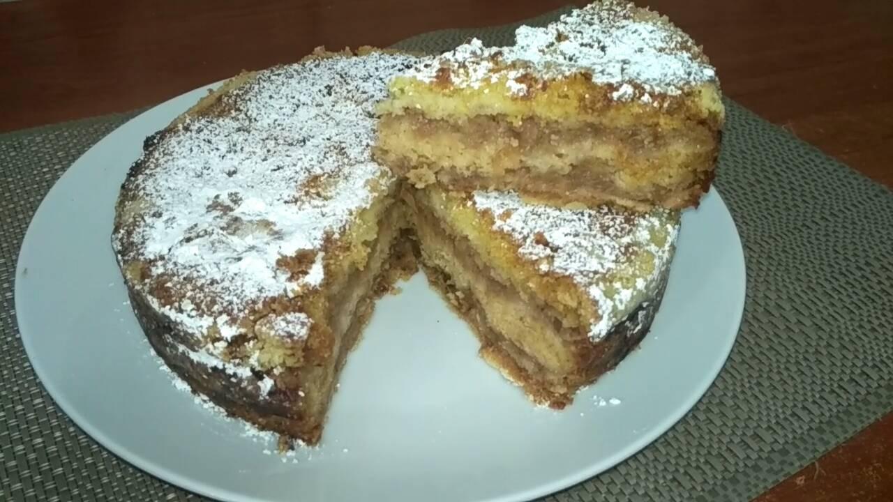 Насыпной яблочный пирог.Рецепт из сухого теста