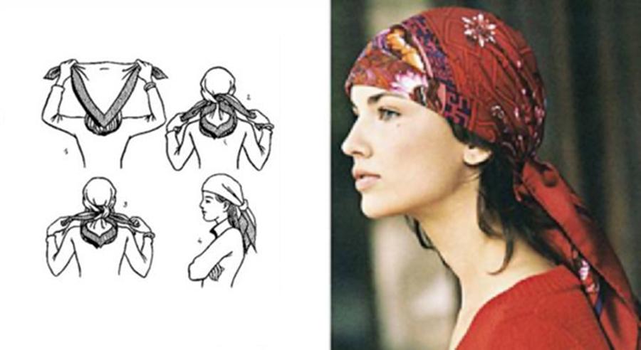 Как завязать платок на голову. Крестьянский способ.