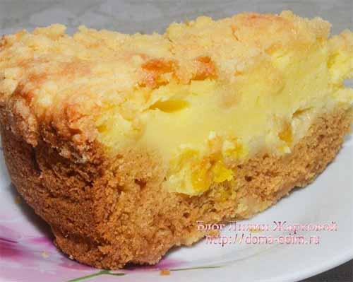 Апельсиновый пирог с творожной начинкой