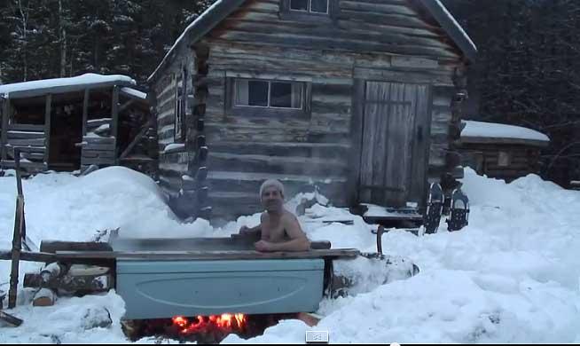 Ванна на открытом воздухе - видео