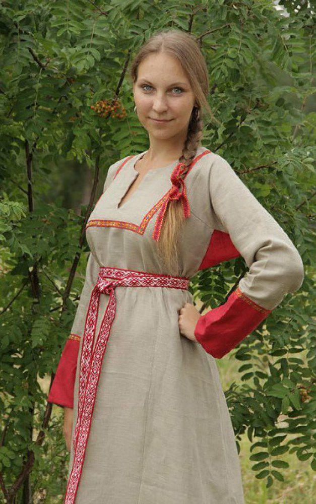 Славянское платье из льна сшить 36