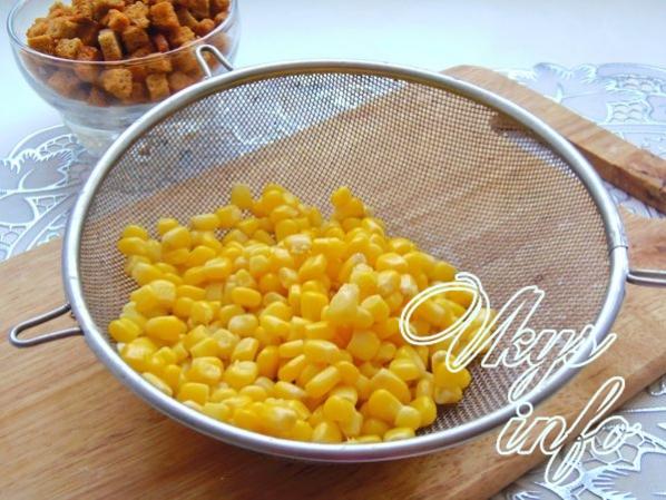 Салат из кукурузы консервированной горошка и фасоли