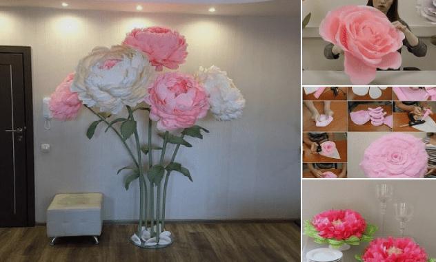Гигантские цветы-красивая идея для праздничного декора