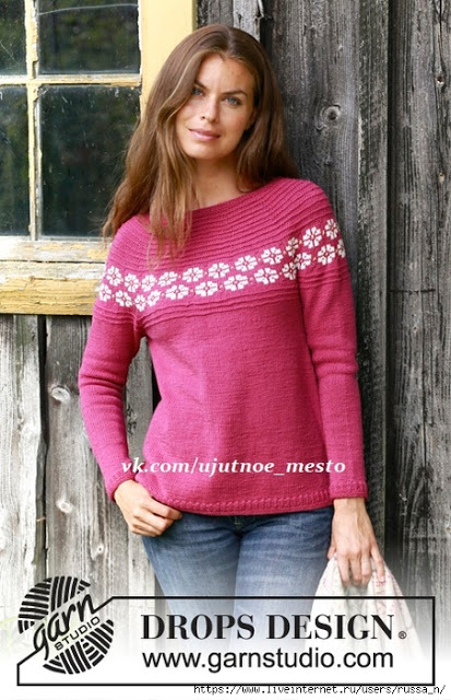 Пуловер Маргаритки от Drops Design