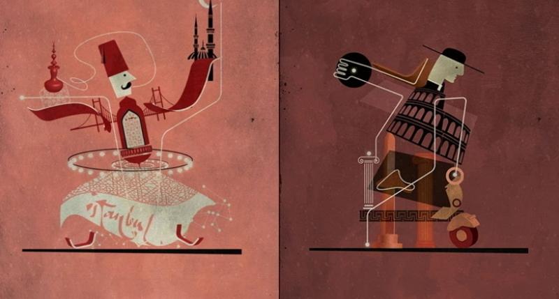 Художник представил известные города, соединив их главные символы в одну картинку
