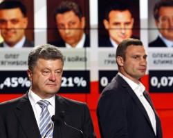 Кандидат в президенты Украины Петр Порошенко и кандидат в мэры Киева Виталий Кличко