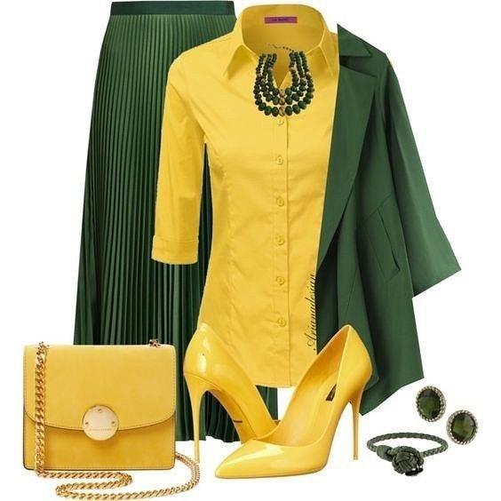 Желтый и зеленый в одежде — ярко, сочно, смело!