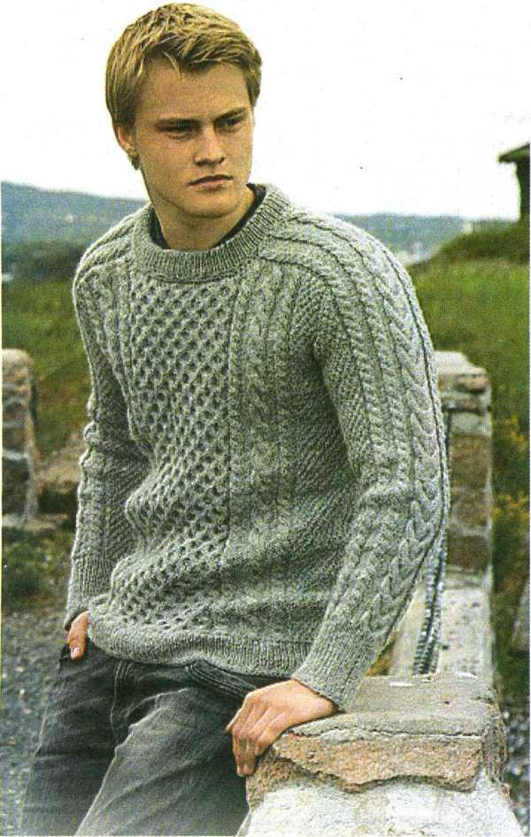 Мужской пуловер. Вязание спицами