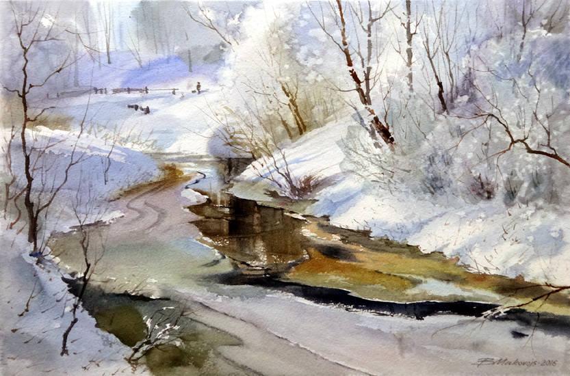 ,,Настоящая зима на р.Кекавине,,акв.бумага Saunders Waterford 425 гр.35*65 см.2016 г.