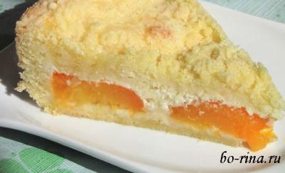 Творожный пирог с абрикосами и штрейзелем