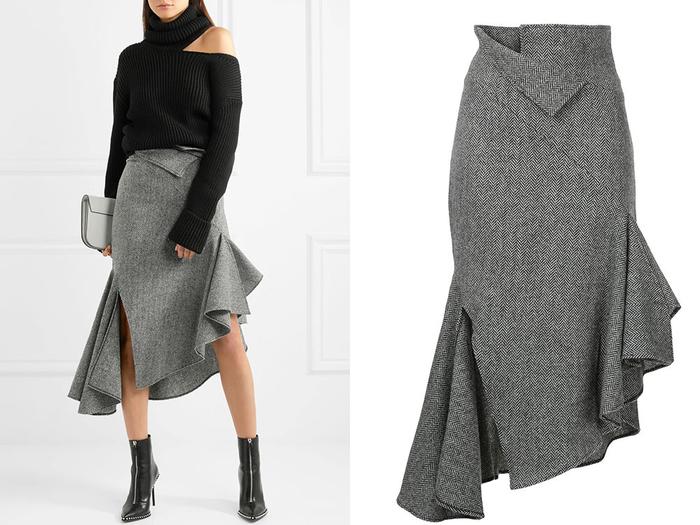 Роскошная юбка с цельнокроенным валаном