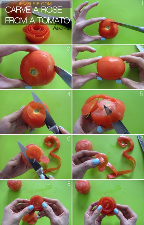 How To Carve A Rose From A Tomato - JewelPie