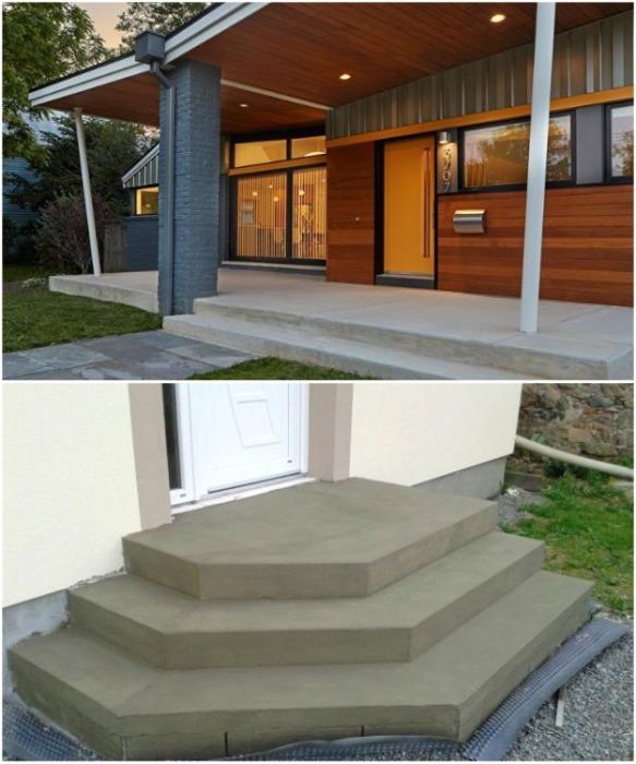 Самый простой способ создания порога и ступеней – это монолитная конструкция из бетона. | Фото: istratehnik.ru.