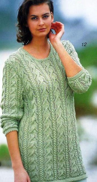 Красивый зелёный пуловер