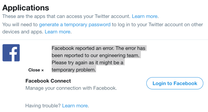 PSA: Cross-posting tweets to Facebook no longer works as of today