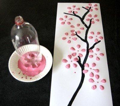 "Картина бутылкой ""Ветка сакуры"""