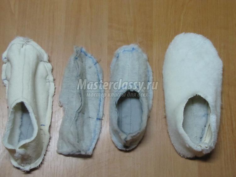детские тапочки-лапки из меха своими руками
