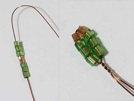 петельки из рубки для второго яруса ёлочки из бисера сплетённой на проволоке своими руками