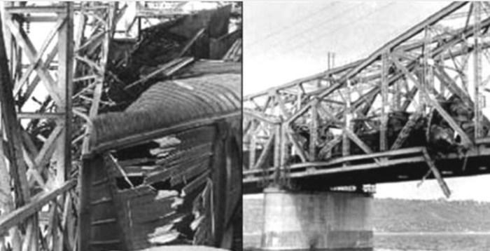Фрагмент моста после аварии. / Фото: www.pokazuha.ru