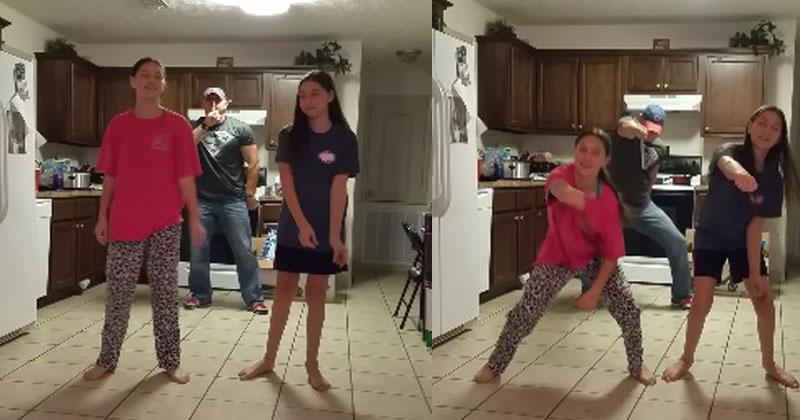 Девочки решили снять свой танец на видео. Но взгляните, что сделал папа!