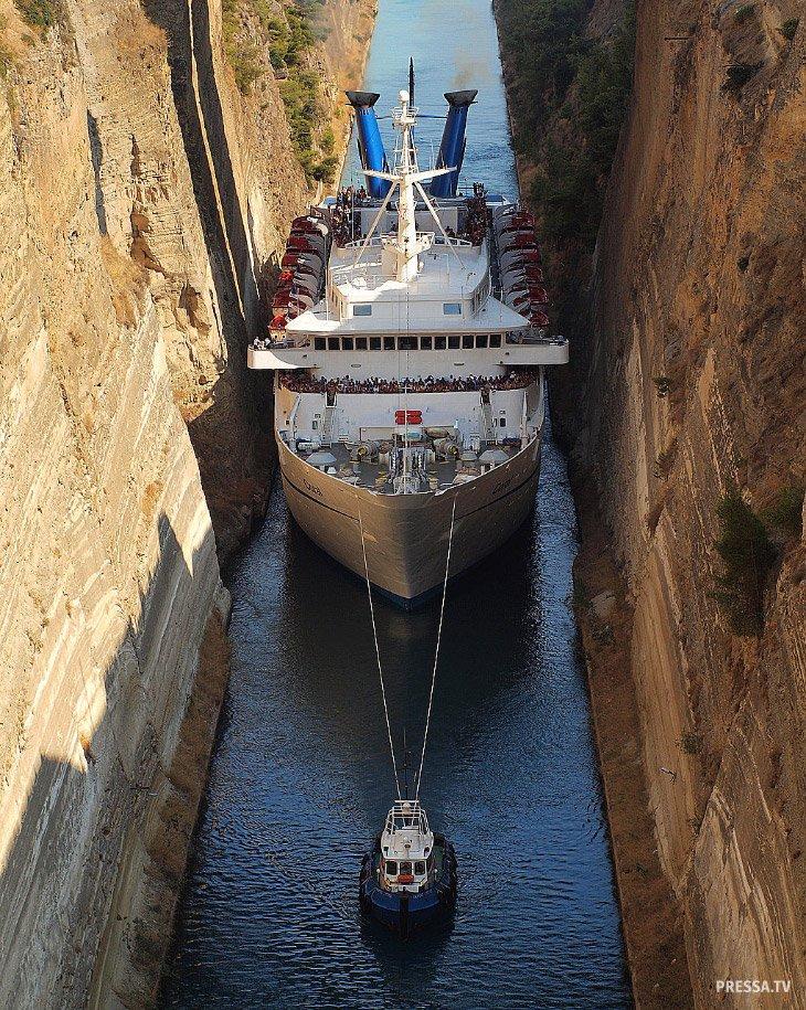 Коринфский канал — самый узкий в мире канал для прохода кораблей