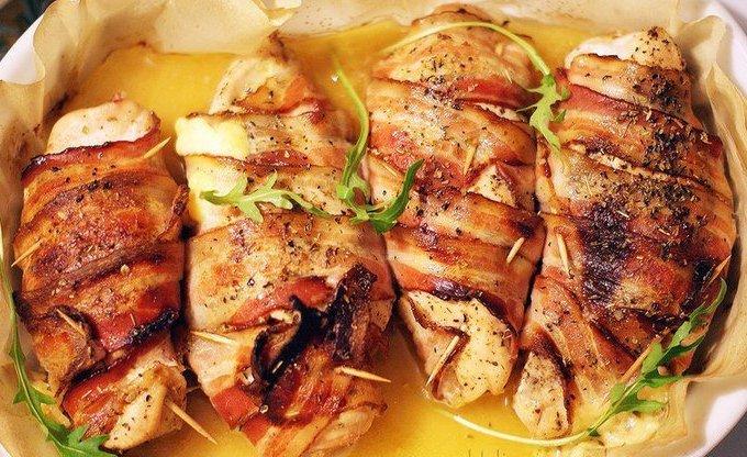 Куриное филе с сыром и беконом