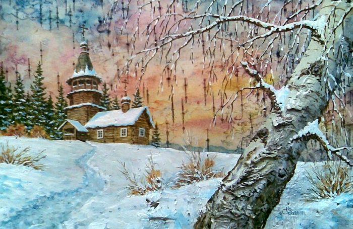 Художник Сергей Зинин. Картины на бересте