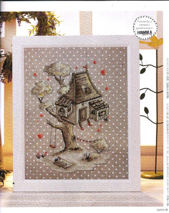 Схемы для вышивки крестом уютной картинки «Домик на дереве»