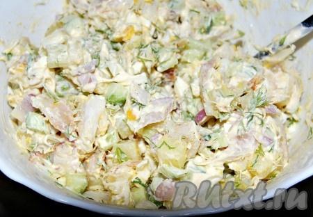 Приготовить салат с треской