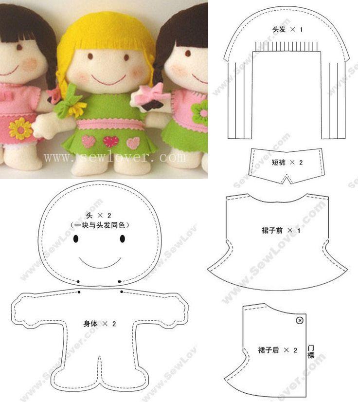 Кукла из фетра своими руками схемы шаблоны