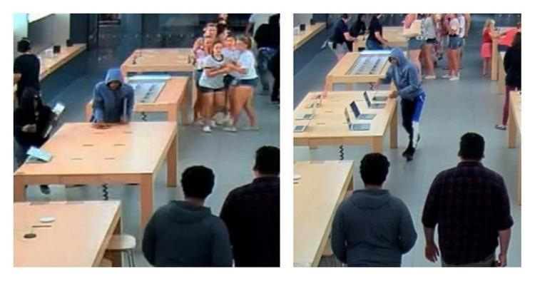 Техничное ограбление магазина Apple за 30 секунд: видео