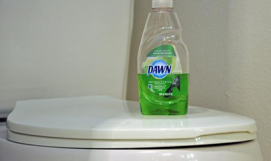 Используйте посудомоечную машину мыла и горячей воды, чтобы прочистить туалет.