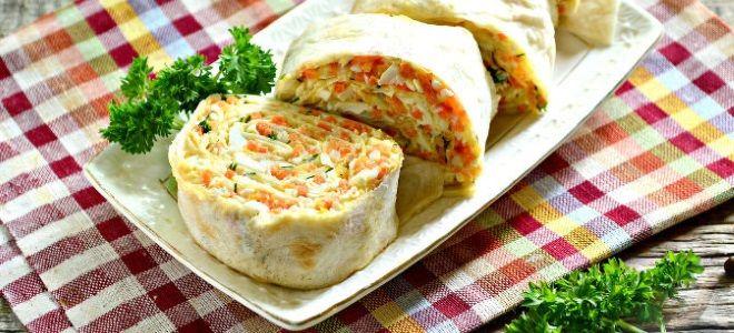 Лаваш с корейской морковью и сыром