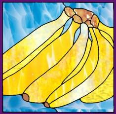 окрашенных бананы стекла