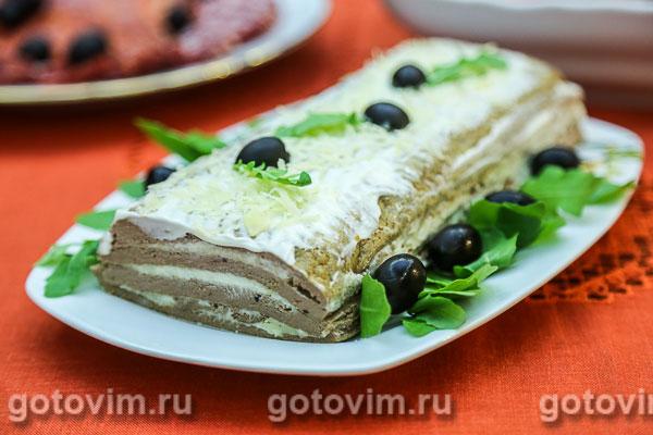 Печеночный торт с сыром. Фотография рецепта