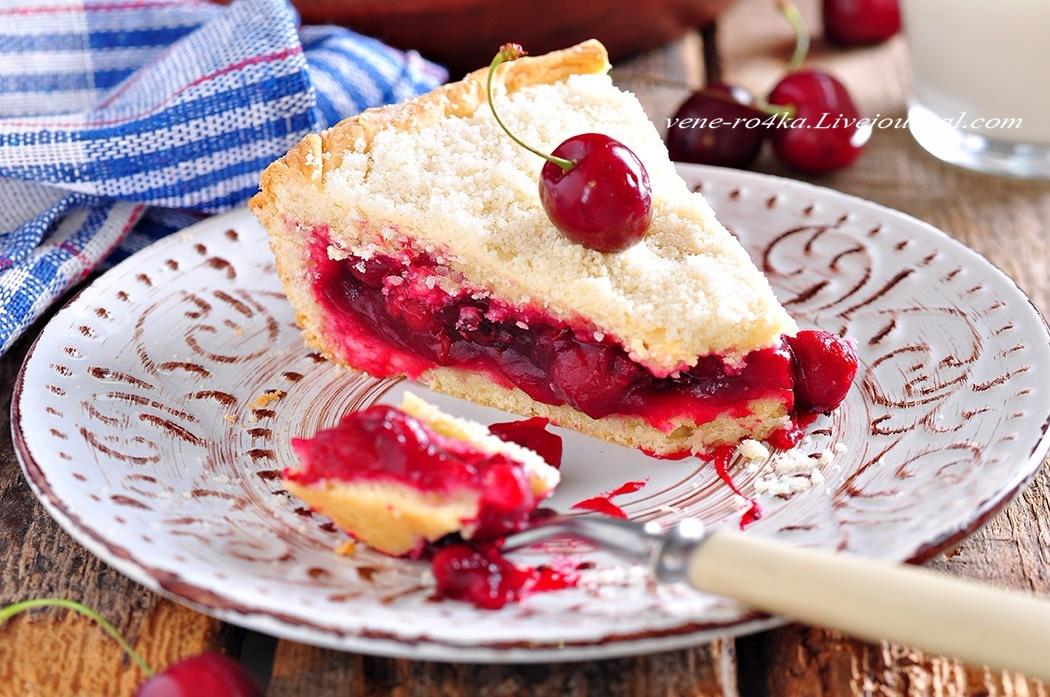 Татарская кухня: Вишневый пирог на пресном сдобном тесте (Чия бялиши)